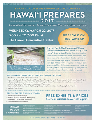 This is an image of the flyer for the PRiMO 2017 Conference's Community Night, Hawaii Prepares 2017