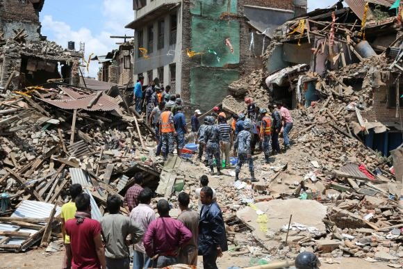 This is a photo of the earthquake damage in Nepal. This photo is a Public Domain Photo