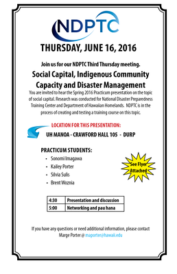 This is an image of the NDPTC June 16, 2016 Event Flier