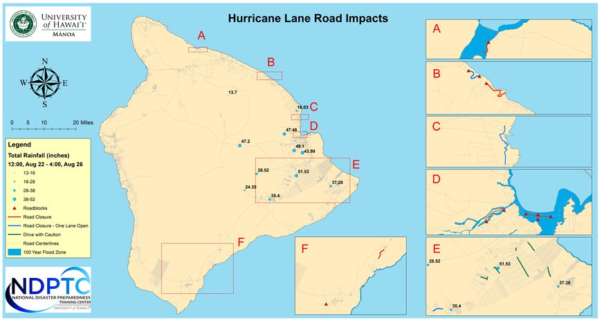 This is a map of the impacts to Hawaii Island's Roads from Hurricane Lane