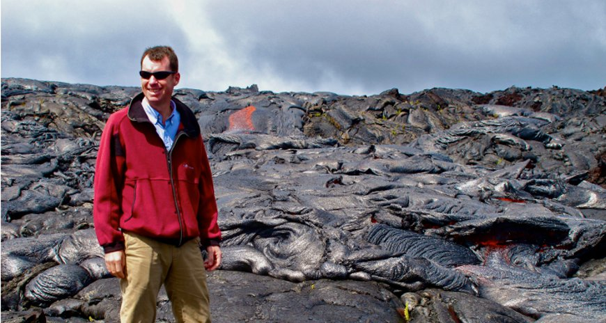 This is a picture of FEMA Deputy Administrator of the National  Preparedness  Directorate, Tim Manning on the lava fields of Kilauea, Hawaii