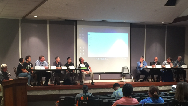 This is a picture of the panelists at the Hawaii State Aerospace Summit
