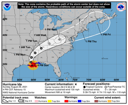 This is an image from the National Hurricane Center of Hurricane Ida's projected path and cone