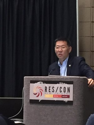 This is a picture of Dr. Karl Kim, Executive Director for NDPTC presenting at the RES/CON National Evacuation Conference in New Orleans