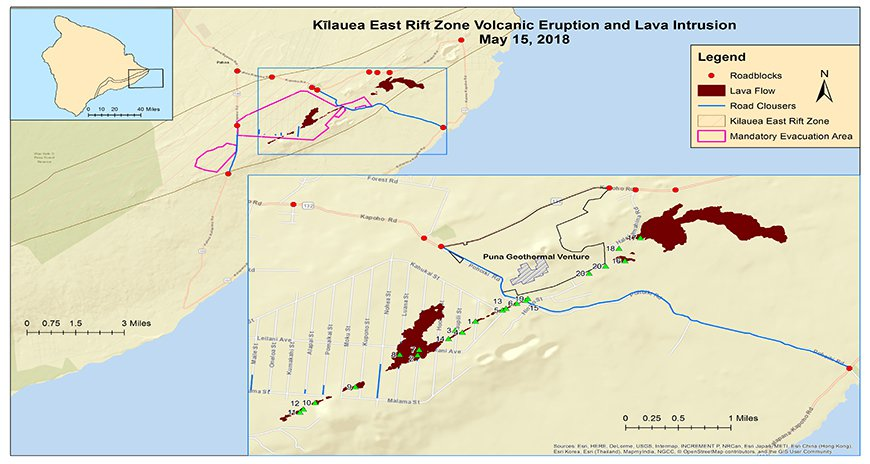 This a picture of a map of the Kilauea East Rift Zone Volcanic Eruption as of May 15, 2018