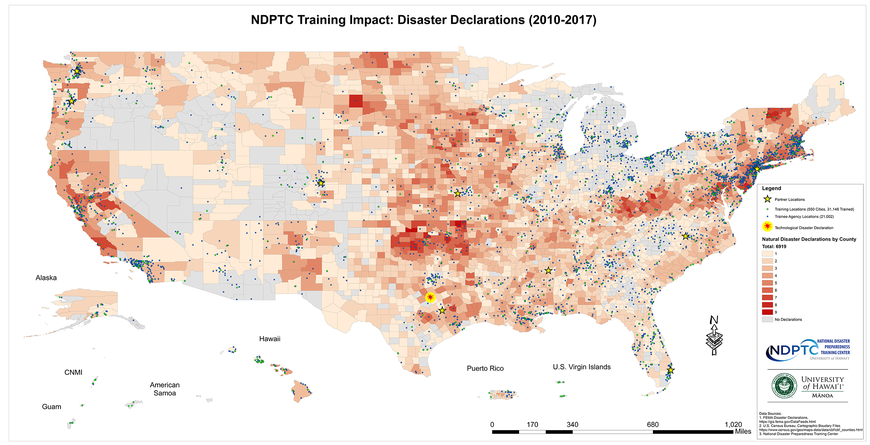 This is a map of the amount of disaster declarations by U.S. counties from 2010 to 2017, cities where NDPTC has trained, and cities of those agencies who received training.