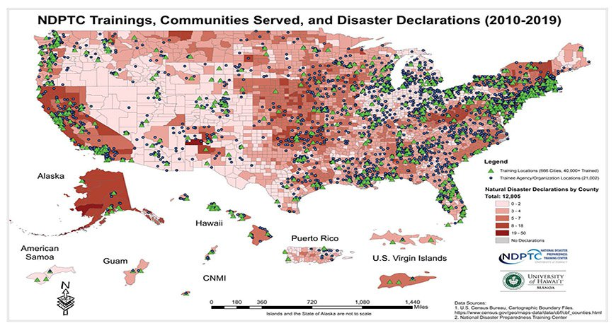 This is a map of the number of disaster declarations by U.S. counties from 2010 to 2019, cities where NDPTC has trained, and cities of those agencies who received training.