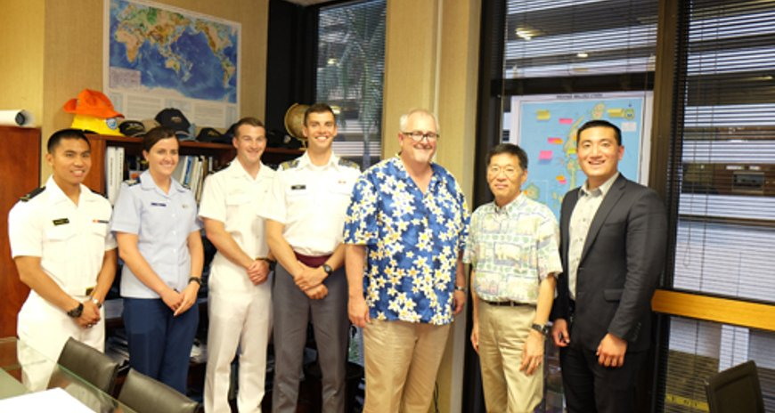 This is a picture of FEMA Administrator Craig Fugate with the Service Academy Interns, NDPTC Executive Director Karl Kim and NDPTC Weather and Climate Program Manager , Mr. Owen Shieh