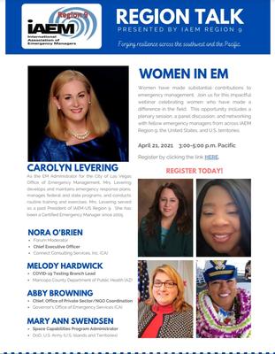 This is the flyer for IAEM's Region 9, Region Talk webinar