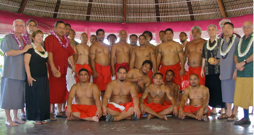 This is a photo of NDPTC staff posing with the American Samoa male youth leaders.