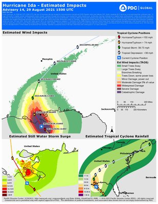 This is a JPEG Image of the Pacific Disaster Center's Advisory on Estimated Impacts of Hurricane Ida