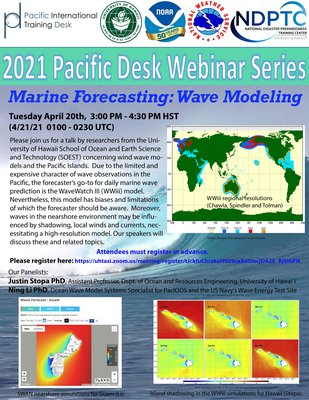 This is the flyer for 2021 Webinar #2 -- Marine Forecasting: Wave Modeling