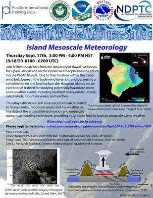 This is a picture of the flyer for the Island Mesoscale Meteorology Webinar