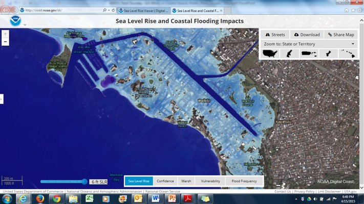 Image of NOAA Sea Level Rise Viewer focused on the Coastal Flooding of Waikiki, courtesy of NOAA Sea Level Rise Viewer. https://coast.noaa.gov/slr/