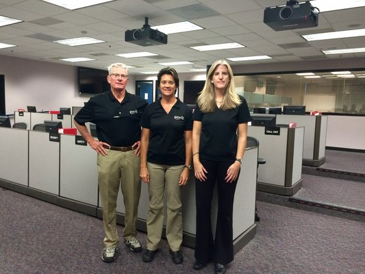 Photo From left to right: Ted Ralston, subject matter expert for UAS course; Teena Deering, UAS course instructor and SDGE UAS pilot; and Jennifer Davidson, NDPTC program manager for UAS course, at SDGE's emergency operations center for the NDPTC UAS course.