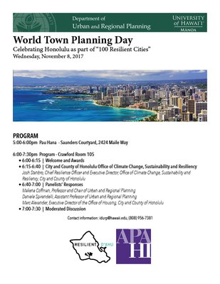 This is an image of the 2017 World Town Planning Day Flier