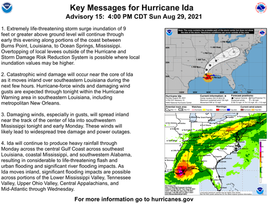 This is an image of the key messages from the National Hurricane Center regarding Hurricane Ida