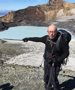 This is a picture of Bruce Houghton hiking near Ruapehu, New Zealand