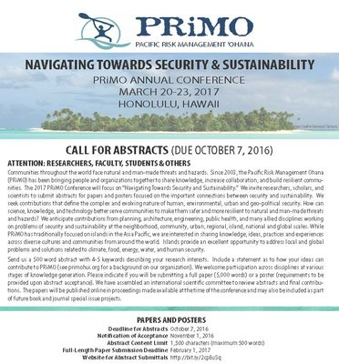 This is an image of the PRiMO call for abstracts flyer